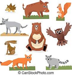 plat, style, ensemble, animaux, forêt, sauvage