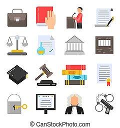 plat, style, ensemble, icônes, légal, symboles, regulations., juridique