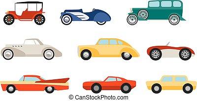 plat, style, ensemble, voitures classiques