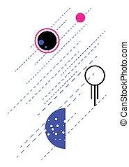 plat, style, espace, mur, affiche, résumé, art., planètes, géométrique, astrologie, print.