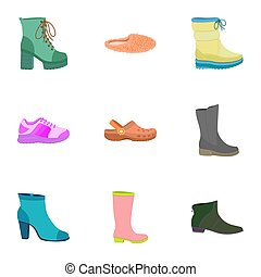 plat, style, femme, chaussures, ensemble, icône