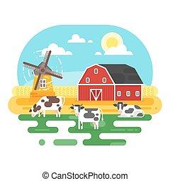 plat, style, ferme, illustration, vecteur, cows.