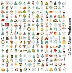 plat, style, grand, set., collection, fetes, année, nouveau, noël, icône