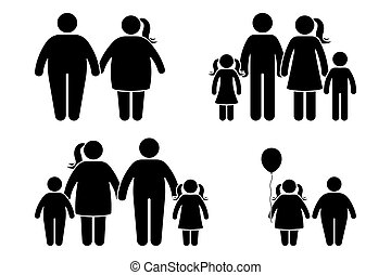 plat, style, icône, obèse, figure, enfants, noir, humain, pictogramme, crosse, set., couple, blanc, graisse, famille, vecteur