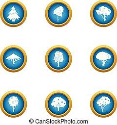 plat, style, icônes, ensemble, arbre, vert