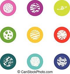 plat, style, icônes, ensemble, système, solaire