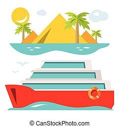 plat, style, illustration., coloré, ship., vecteur, croisière luxe, dessin animé