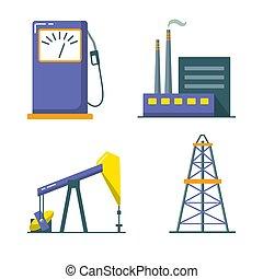 plat, style, industrie pétrolière, ensemble, icône