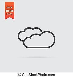 plat, style, isolé, gris, arrière-plan., nuage, icône