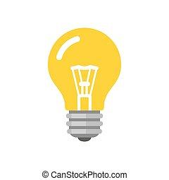 plat, style, lumière, vecteur, ampoule, icon.