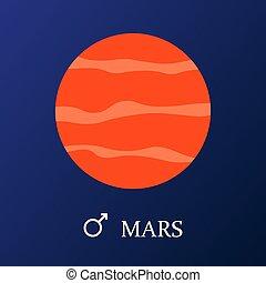 plat, style, mars, planète