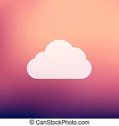 plat, style, nuage, icône
