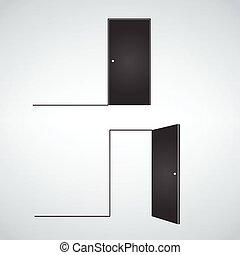 plat, style, open., fermé, isolé, illustration, vecteur, portes, blanc, conception