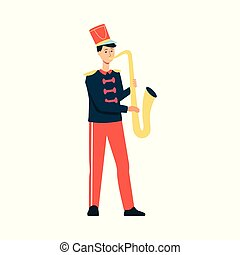 plat, style, parade, fête, jeune, isolé, arrière-plan., musique, déguisement, saxophone, blanc, jouer, homme