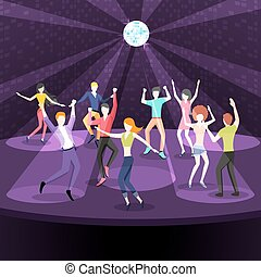 plat, style, plancher, danse, gens, conception, danse, nightclub.