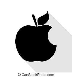 plat, style, pomme, morsure, noir, ombre, path., signe., icône
