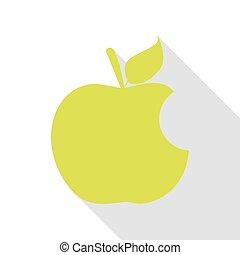 plat, style, pomme, morsure, poire, ombre, path., signe., icône