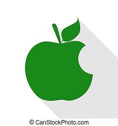 plat, style, pomme, morsure, vert, ombre, path., signe., icône