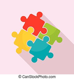 plat, style, puzzle, solution, collaboration, icône