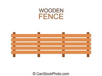 plat, style, silhouette, conseils, barrière, bois, ferme, bois, construction
