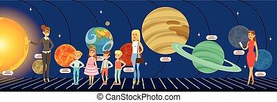 plat, sur, gosses, système solaire, illustration, étoiles, planétarium, vecteur, apprentissage, planètes, style