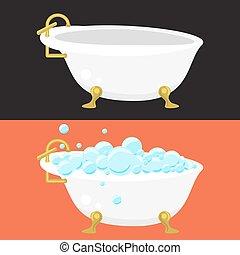 plat, syle., bain, ingénierie, vecteur, sanitaire, baquet