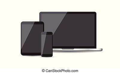 plat, tablette, laptop., illustration, réaliste, vecteur, fond, appareil, icons:, smartphone, blanc