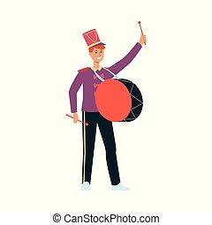 plat, tambour, parade, jeune, déguisement, style., homme
