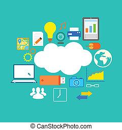 plat, technologie, conception, nuage, calculer