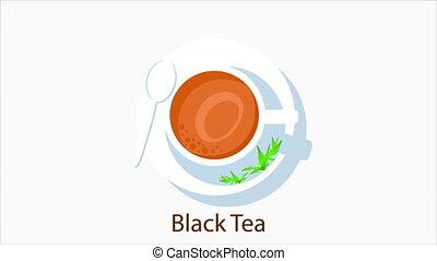 plat, thé, noir
