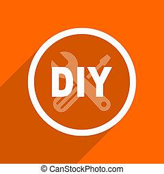 plat, toile, mobile, app, button., illustration, conception, bricolage, orange, icon.