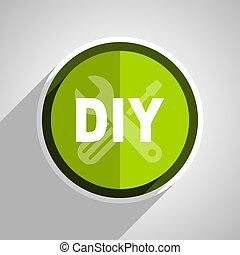 plat, toile, mobile, app, illustration, bouton, vert, bricolage, icône internet, conception, cercle