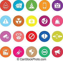 plat, utile, icônes, général, fond, blanc