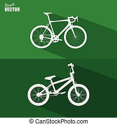 plat, vélo, vector., icône