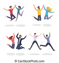 plat, vecteur, étudiants, gens, characters., set., reussite, saut, enjôleur, excitation, célébrer, sauter, fond, illustrations, sourire, couple, amis, blanc, dessin animé, collègues