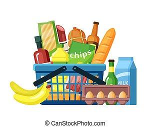 plat, vecteur, assortiment, illustration, nourriture, panier épicerie