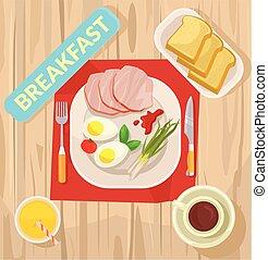 plat, vecteur, breakfast., illustration