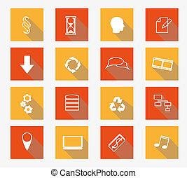 plat, vecteur, collection, icônes