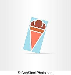 plat, vecteur, crème, glace, icône
