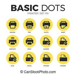 plat, vecteur, ensemble, imprimante, icônes