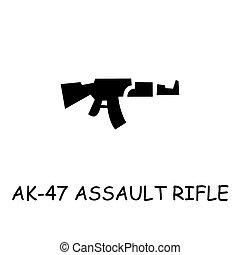plat, vecteur, fusil assaut, ak-47, icône