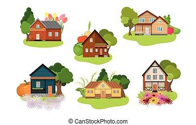 plat, vecteur, illustration, ensemble, différent, pays, dessin animé, gardens., maisons, style.
