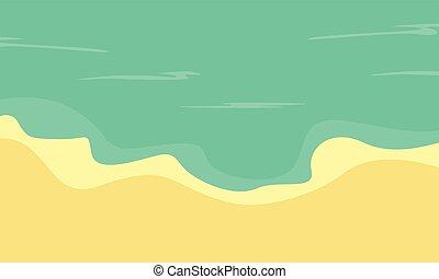 plat, vecteur, plage, paysage