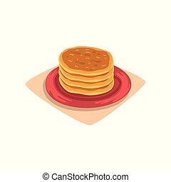 plat, vecteur, plaque., nourriture, menu, concept., ou, recette, jeûne, dessin animé, dessert., crêpes, livre, savoureux, délicieux, conception, petit déjeuner, pile, rouges