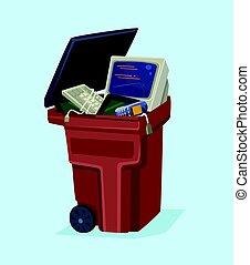 plat, vieux, can., illustration technologie, téléphone, vecteur, électronique, déchets ménagers, informatique, dessin animé