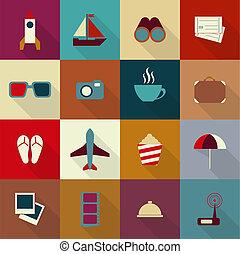 plat, voyage, 16, ombre, icônes