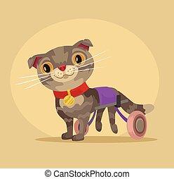 plat, wheelchair., caractère, illustration, chat, handicapé, vecteur, dessin animé