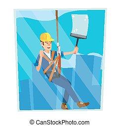 plat, windows., risque, work., fenetres, ouvrier, moderne, caractère, isolé, illustration, élevé, nettoyage, vector., skyscraper., professionnel, dessin animé
