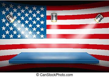 plate-forme, drapeau, projecteurs, usa