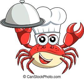 plateau, chef cuistot, isolé, mascotte, servir, crabe